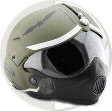 Casco De Motocicleta Scooter Cara Abierta osbe GPA aviones Tornado Verde + Mascarilla Ejército