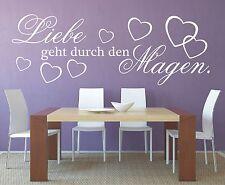 X686 Wandtattoo Spruch / Liebe geht durch den Magen Sticker Aufkleber Küche
