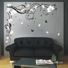 FARFALLA Fiori Wall art Adesivi famiglia Tree Muro Decalcomanie Adesivi -- PD10