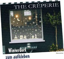 Winterdorf Aufkleber Fenster Weihnachten Dekoration Häuser Schneeflocken