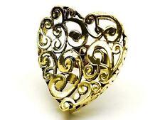 Goldtone Floral Wave Heart Adjustable Cocktail Ring