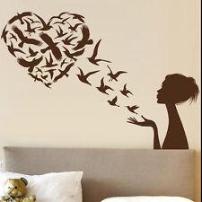 Sticker Déco Geant XXL, Silhouette Femme Envolée d'Oiseaux en Coeur (COEUR017)