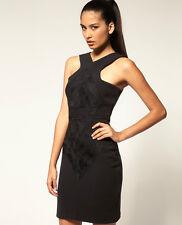 NWT $279 Designer AQUA Italian Brocade SILK Panel DRESS  BLACK