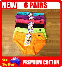 6 Pairs Cotton Fashion Colors Girls / Ladies Underwear Undies Briefs Size 8 - 16