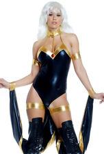 Forplay adult black draped bodysuit Storm costume