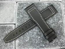 New 21mm Genuine CALF LEATHER STRAP Black Watch Band Top Gun PILOT 21 #X7