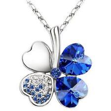 """Two Swarovski Elements Crystal Four Leaf Clover Pendant Necklace 19"""""""