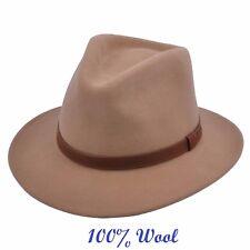 CRUSHABLE  FELT FEDORA HAT 100% FELT WOOL ELEGANT HAT (Camel)