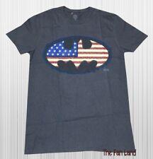 New DC Comics Batman American Flag Mens Gray Vintage T-Shirt