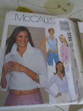 3184 PATRON McCALL'S 4 VERSIONS TOP BLOUSE CACHE COEUR    TAILLE XS AU L