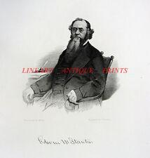 Civil War Secretary EDWIN STANTON ~ Antique Old 1866 Art Print Engraving RARE