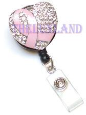 Rhinestone Retractable ID badge holder Reel- Pink Ribbon Breast Cancer Awareness