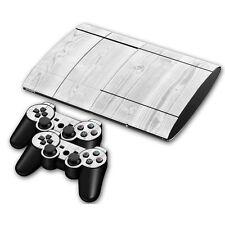 PS3 PlayStation 3 Super Slim Skin Design Aufkleber Schutzfolie Set- White Wood