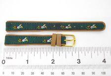Watchband GOLFER genuine leather 12 mm R watch strap stitched green fabric golf