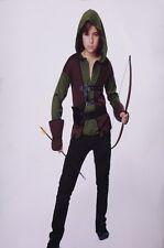 Boys Robin Hood Halloween Costume Shirt Vest Gauntlets Hunter Med 8 Lg XL 16 NEW