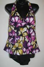 JANTZEN 2pc Halterkini Purple Floral Swimsuit Bathing Suit