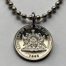 Trinidad & Tobago 10 cents coin pendant Scarlet Ibis bird Port of Spain 002218