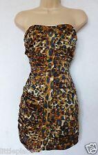 BNWT LIPSY animal leopard print bandeau ruched silky stretch dress party club