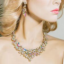 Large Bib Statement Crystal Rhinestone Necklace Earring Set - J594