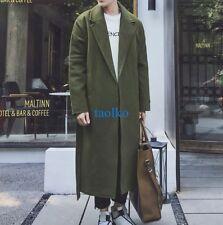 British  Men's Long Wool Blend Full Length Trench Coat Fashion Jackets Outwear