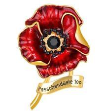 Poppy Flower Brooches Pin Crystal Enamel Metal Badges Broach Ladies Red Diamante