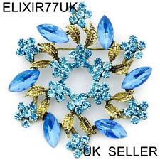 LARGE BLUE DIAMANTE CRYSTAL VINTAGE FLOWER BROOCH PINS BOUQUET ANTIQUE GOLD LOT