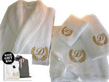 5* Hotel Edition White Set Bathrobe, Bath Towels, Robe-Gold/Silver Personalized