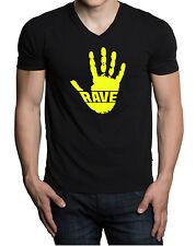Men's Rave Handprint V-Neck Black T Shirt Tee Music Dance EDM Party Neon V423