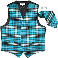 New Vesuvio Napoli Men's plaid checkered Tuxedo Vest Waistcoat_Necktie Turquoise