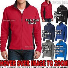 Mens Soft Two Tone Warm Polar Fleece Jacket with Pockets S-XL 2XL, 3XL, 4XL NEW!