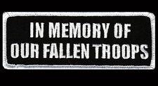 IN MEMORY OF OUR FALLEN TROOPS  4 INCH BIKER PATCH