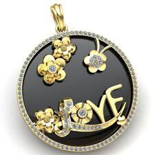 Flower Circle Love Pendant 18K Gold Real 2carat Round Cut Diamond Ladies