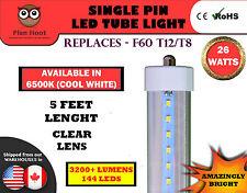 Single Pin 5 Feet 26 Watt 6500K Clear F60T12 T8 Fluorescent Replacement LED Tube