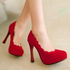 Elegent Women Suede High Heels Pumps Slip Party Platform Shoes Plus Size New
