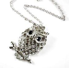 Halskette Eule Strass Eulenkette massiv Uhu Kauz lange Kette Owl Necklace