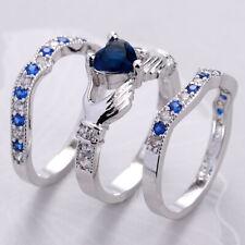Fashion Women 925 Sapphire Wedding Heart Claddagh Ring Set Wedding Anniversary