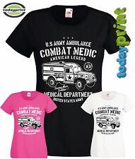 Girlie Shirt US ARMY AMBULANCE COMBAT MEDIC, Dodge, Military, Vintage, T, neu
