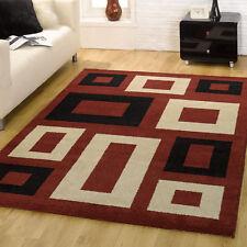 MODERN RED BEIGE BLACK GEOMETRIC BLOCKS BOX DESIGNER MONTE CARLO CLEARANCE RUGS