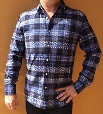 American Rag Men's Aztec-Print Plaid Sail Blue Shirt
