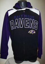 BALTIMORE RAVENS Hooded Jacket Full Zip Hoody Screened & Sewn Logos M L XL 2X