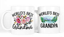 New Grandparents Coffee Mug Gift Set, World's Best Grandma Grandpa Anniversary