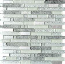 Mosaik Fliese Transluzent Edelstahl klar silber grau  | 87-MV698_f | 10 Matten