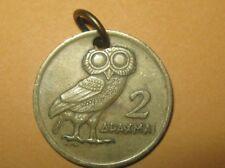 GREECE ANTIQUE VINTAGE ATHENA OWL PHOENIX GREEK COIN CHARM PENDANT NECKLACE