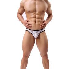 Sexy Men Low-rise Mesh Striped Pouch Boxer Briefs Underwear Underpants White