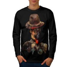 Western Skeleton Skull Men Long Sleeve T-shirt NEW | Wellcoda