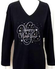 LARGE 3/4 Sleeve V-Neck Top Rhinestone Embellished HAPPY NEW YEARS Design