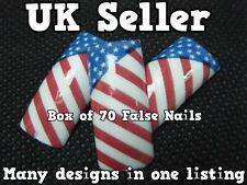 BOX OF 70 FALSE FAKE ACRYLIC FRENCH FULL NAILS TIPS ART USA FLAG STARS & STRIPES