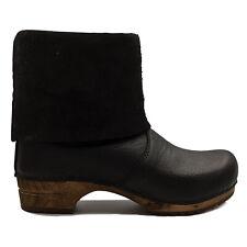 Sanita 'Alison' Roll-top Clog Boots in Black (Art:454444) - Wooden