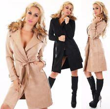 femmes Trench-coat Manteau Veste longue SUEDE VELOURS FAUSSE FOURRURE
