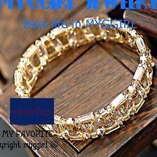 Swarovski Crystal Elements Fashion Bangle Champagne Elastic Adjustable Bracelet